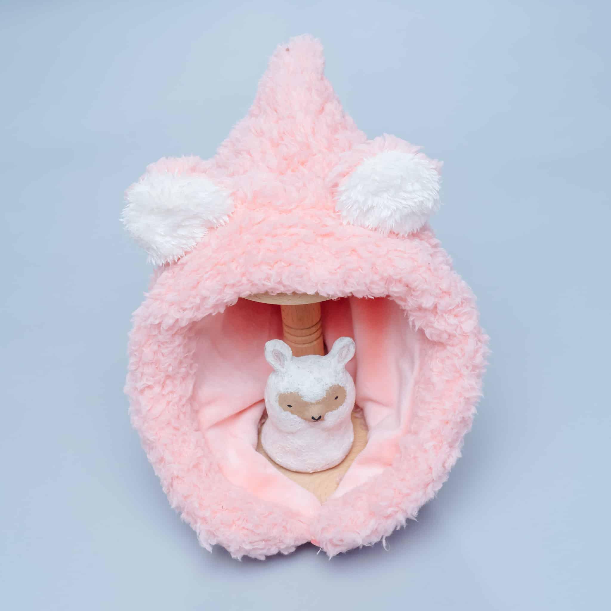 脖圍精靈帽-訂製 粉紅泡泡